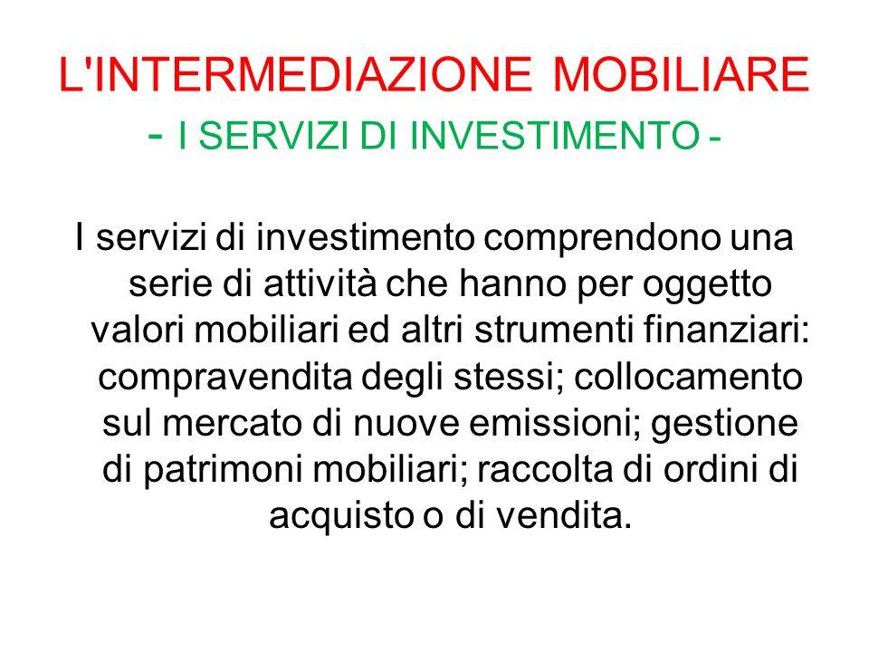 L'INTERMEDIAZIONE MOBILIARE - I SERVIZI DI INVESTIMENTO - I servizi di investimento comprendono una serie di attività che hanno per oggetto valori mob