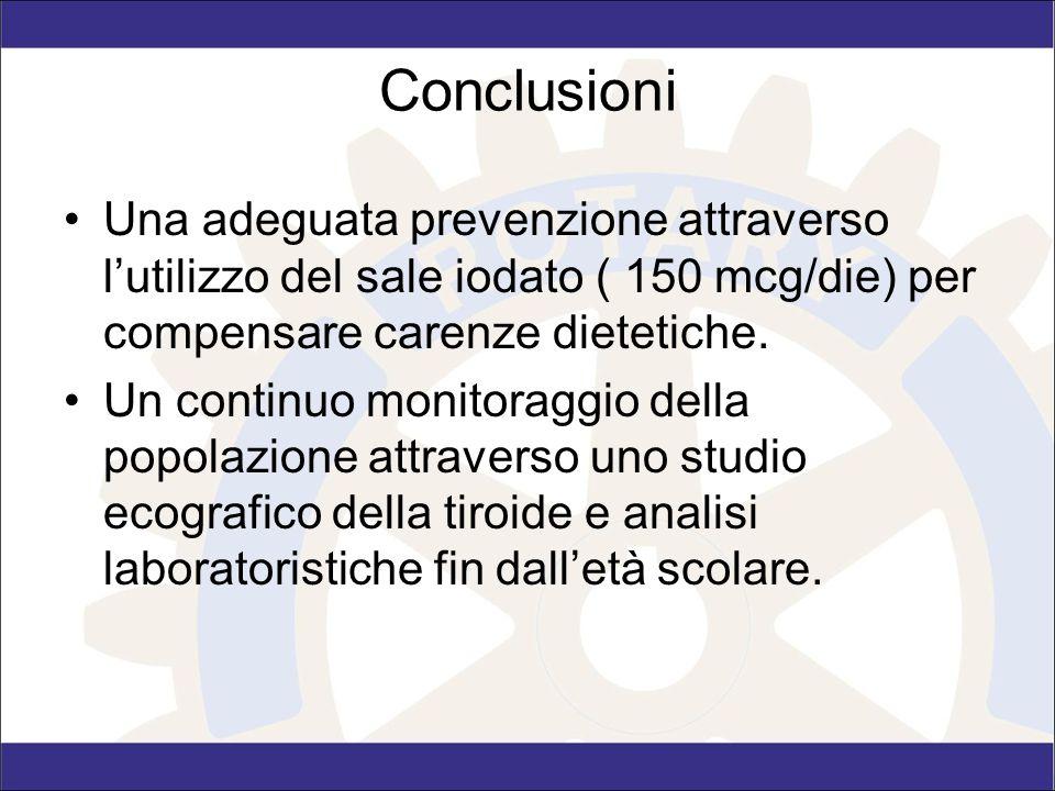 Conclusioni Una adeguata prevenzione attraverso l'utilizzo del sale iodato ( 150 mcg/die) per compensare carenze dietetiche. Un continuo monitoraggio