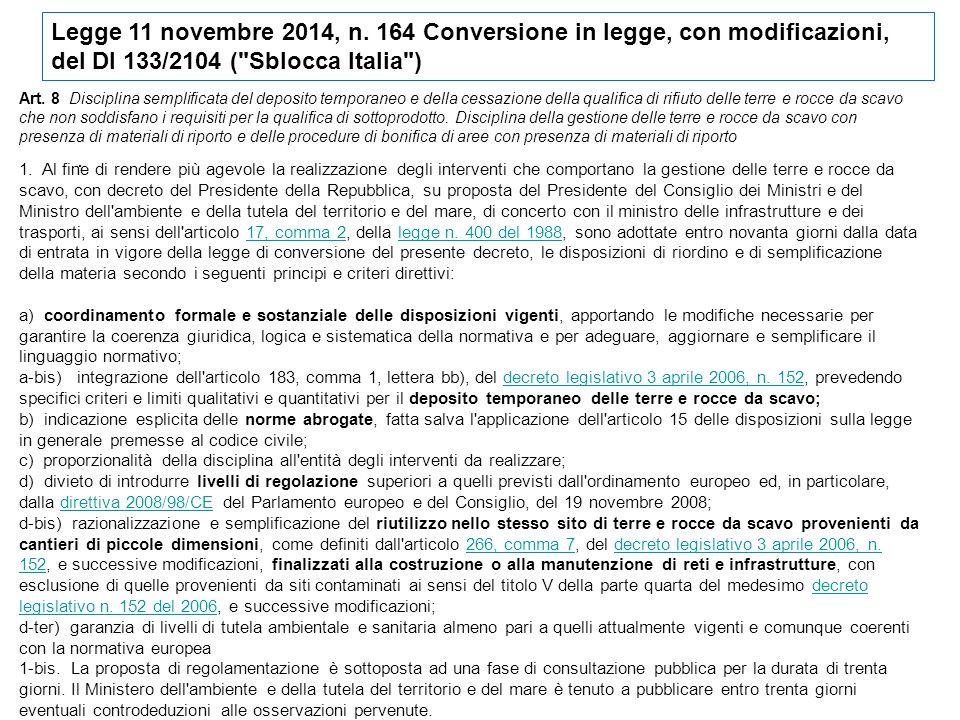. Legge 11 novembre 2014, n. 164 Conversione in legge, con modificazioni, del Dl 133/2104 (