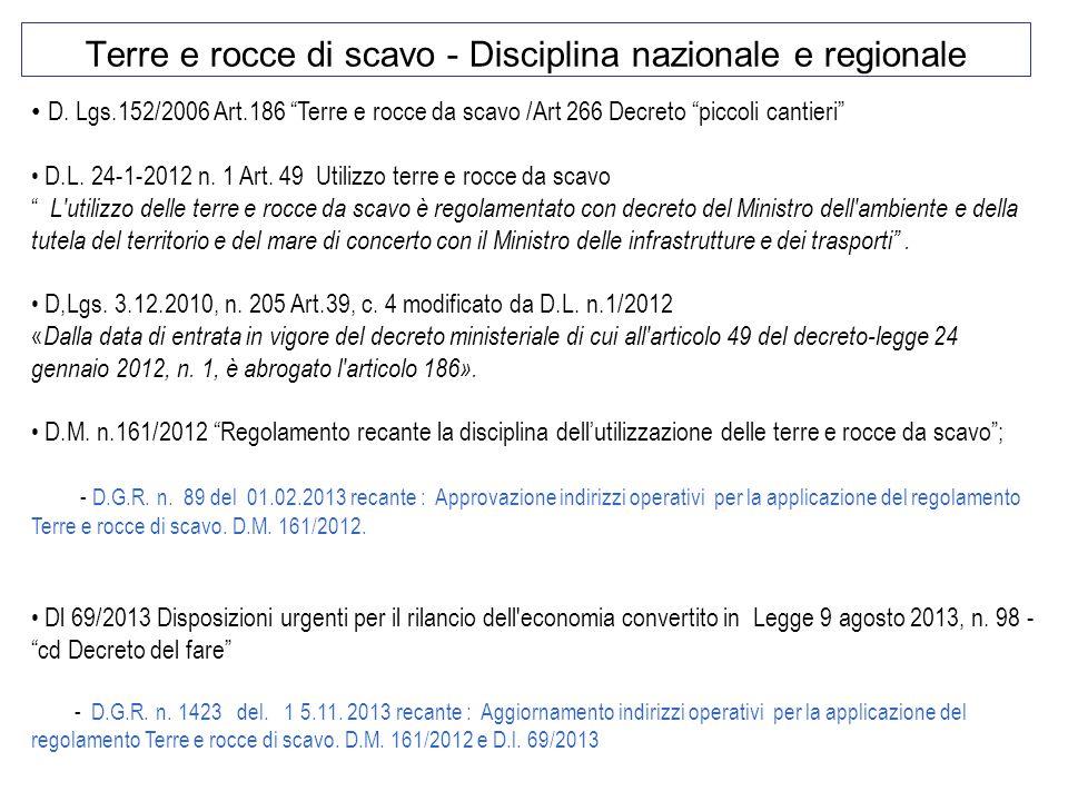 """Terre e rocce di scavo - Disciplina nazionale e regionale D. Lgs.152/2006 Art.186 """"Terre e rocce da scavo /Art 266 Decreto """"piccoli cantieri"""" D.L. 24-"""