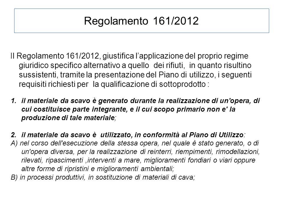 Regolamento 161/2012 Il Regolamento 161/2012, giustifica l'applicazione del proprio regime giuridico specifico alternativo a quello dei rifiuti, in qu
