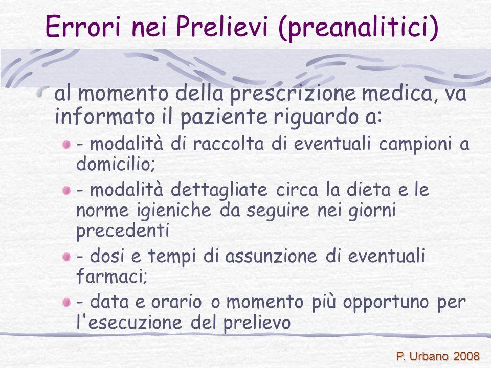 P. Urbano 2008 Errori nei Prelievi (preanalitici) al momento della prescrizione medica, va informato il paziente riguardo a: - modalità di raccolta di