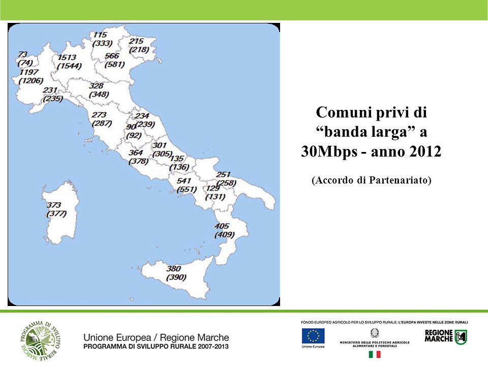 """Comuni privi di """"banda larga"""" a 30Mbps - anno 2012 (Accordo di Partenariato)"""