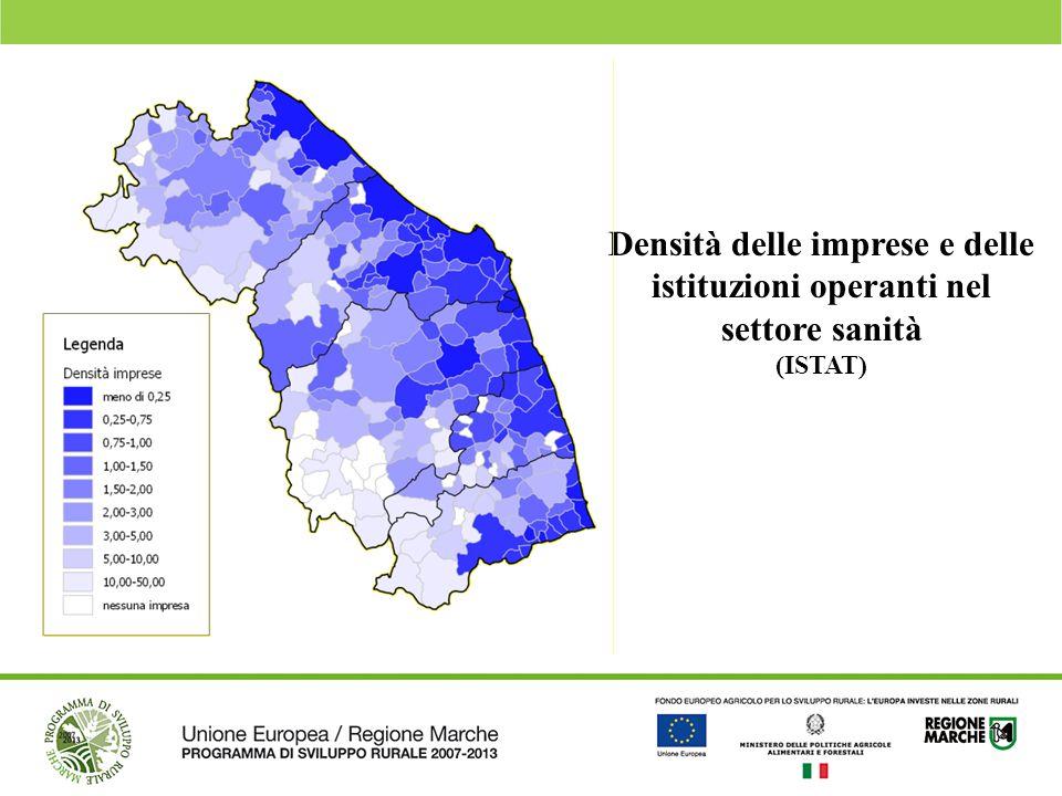 Densità delle imprese e delle istituzioni operanti nel settore sanità (ISTAT)