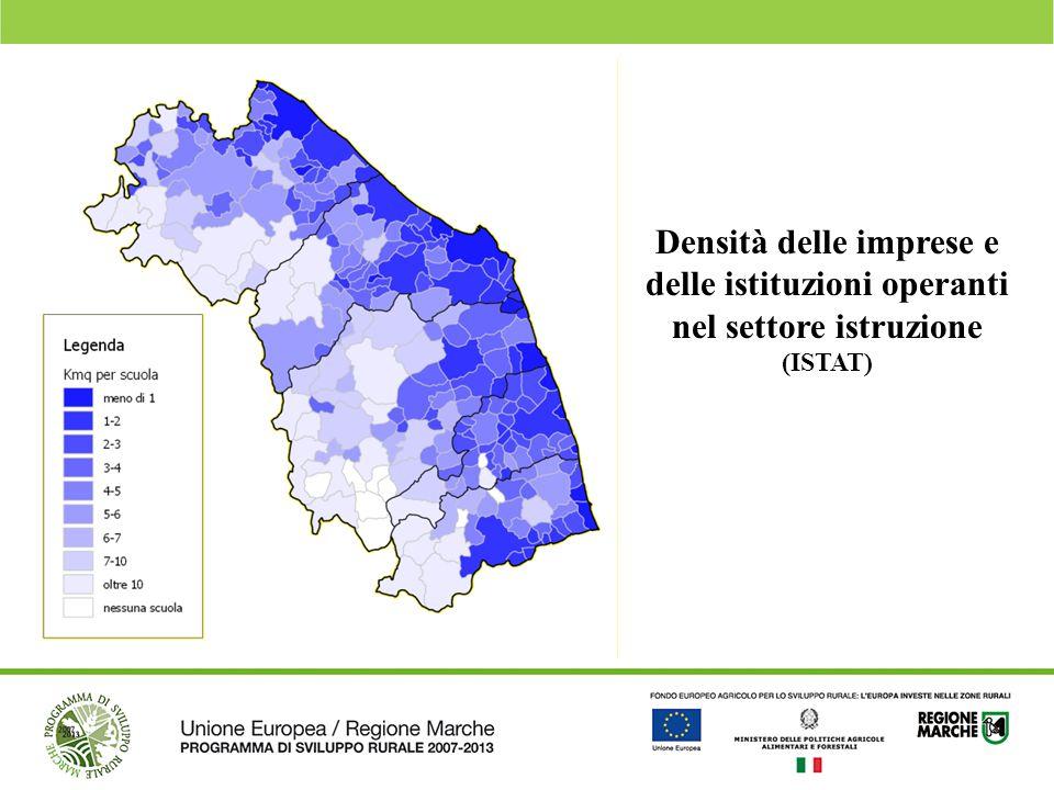 Densità delle imprese e delle istituzioni operanti nel settore istruzione (ISTAT)