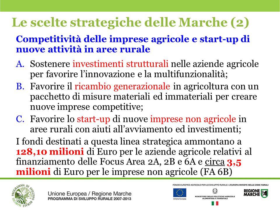 Le scelte strategiche delle Marche (2) Competitività delle imprese agricole e start-up di nuove attività in aree rurale A.Sostenere investimenti strut