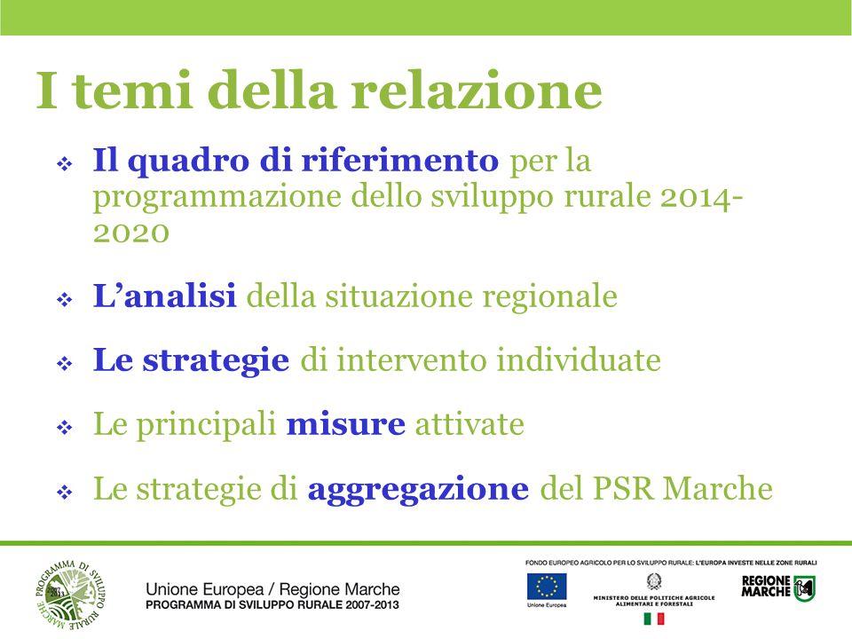 I temi della relazione  Il quadro di riferimento per la programmazione dello sviluppo rurale 2014- 2020  L'analisi della situazione regionale  Le s