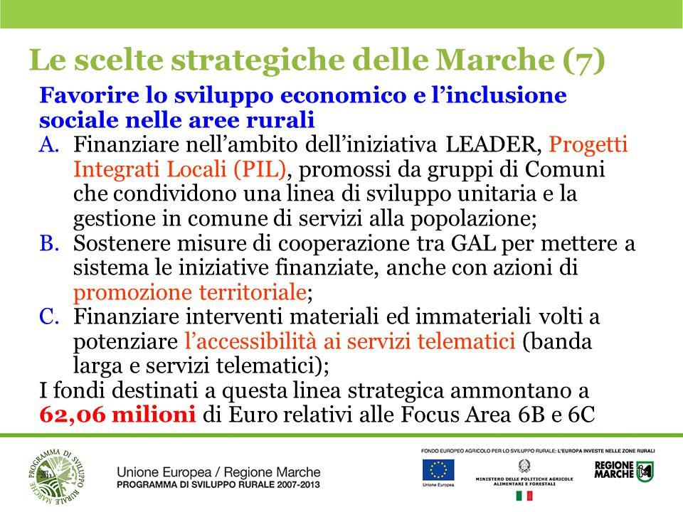 Le scelte strategiche delle Marche (7) Favorire lo sviluppo economico e l'inclusione sociale nelle aree rurali A.Finanziare nell'ambito dell'iniziativ