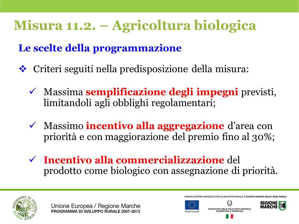 Misura 11.2. – Agricoltura biologica Le scelte della programmazione  Criteri seguiti nella predisposizione della misura: Massima semplificazione degl