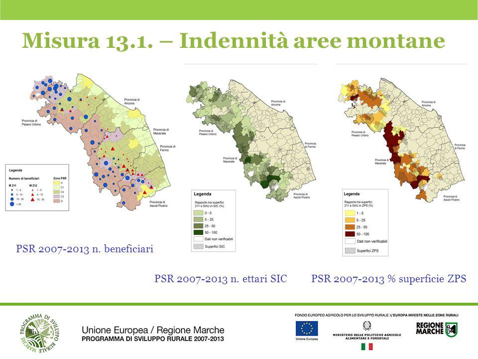 Misura 13.1. – Indennità aree montane PSR 2007-2013 n. beneficiari PSR 2007-2013 n. ettari SICPSR 2007-2013 % superficie ZPS