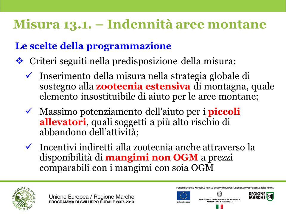 Misura 13.1. – Indennità aree montane Le scelte della programmazione  Criteri seguiti nella predisposizione della misura: Inserimento della misura ne