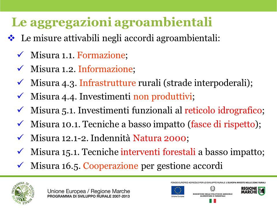 Le aggregazioni agroambientali  Le misure attivabili negli accordi agroambientali: Misura 1.1. Formazione; Misura 1.2. Informazione; Misura 4.3. Infr