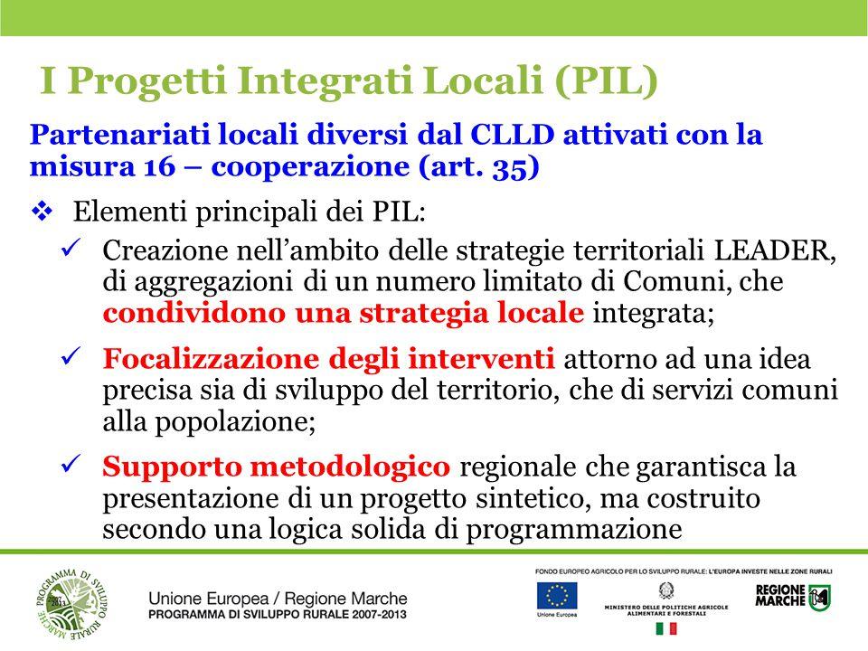 I Progetti Integrati Locali (PIL) Partenariati locali diversi dal CLLD attivati con la misura 16 – cooperazione (art. 35)  Elementi principali dei PI