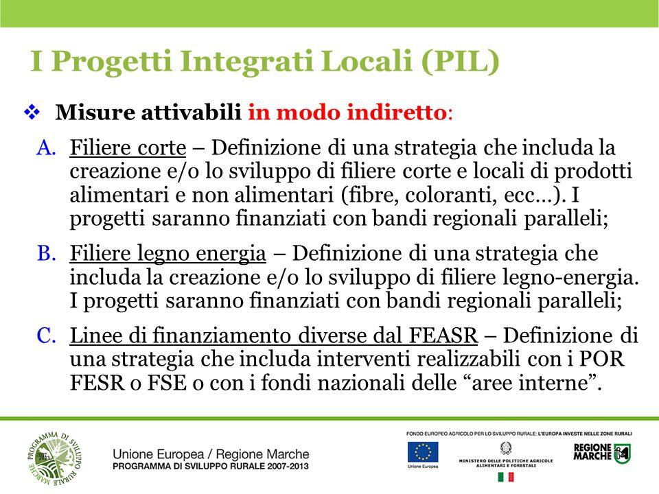 I Progetti Integrati Locali (PIL)  Misure attivabili in modo indiretto: A.Filiere corte – Definizione di una strategia che includa la creazione e/o l