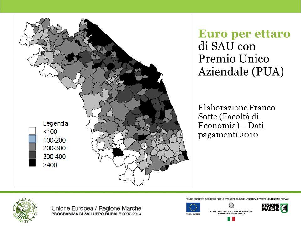 Euro per ettaro di SAU con Premio Unico Aziendale (PUA) Elaborazione Franco Sotte (Facoltà di Economia) – Dati pagamenti 2010