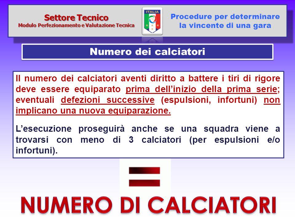Numero dei calciatori Procedure per determinare la vincente di una gara Settore Tecnico Modulo Perfezionamento e Valutazione Tecnica Il numero dei cal