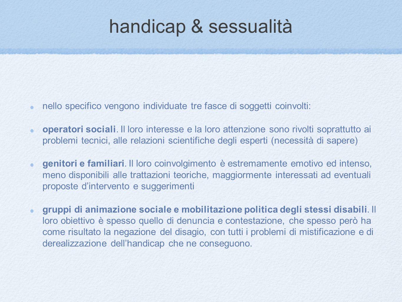 handicap & sessualità nello specifico vengono individuate tre fasce di soggetti coinvolti: operatori sociali. Il loro interesse e la loro attenzione s