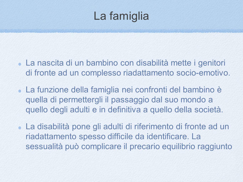 La famiglia La nascita di un bambino con disabilità mette i genitori di fronte ad un complesso riadattamento socio-emotivo. La funzione della famiglia