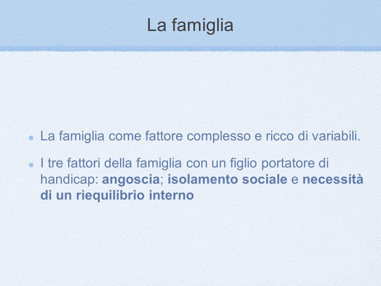 La famiglia La famiglia come fattore complesso e ricco di variabili. I tre fattori della famiglia con un figlio portatore di handicap: angoscia; isola