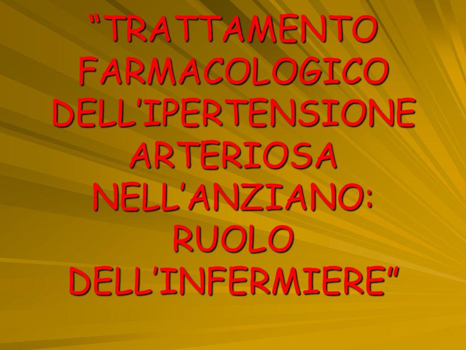 TRATTAMENTO FARMACOLOGICO DELL'IPERTENSIONE ARTERIOSA NELL'ANZIANO: RUOLO DELL'INFERMIERE