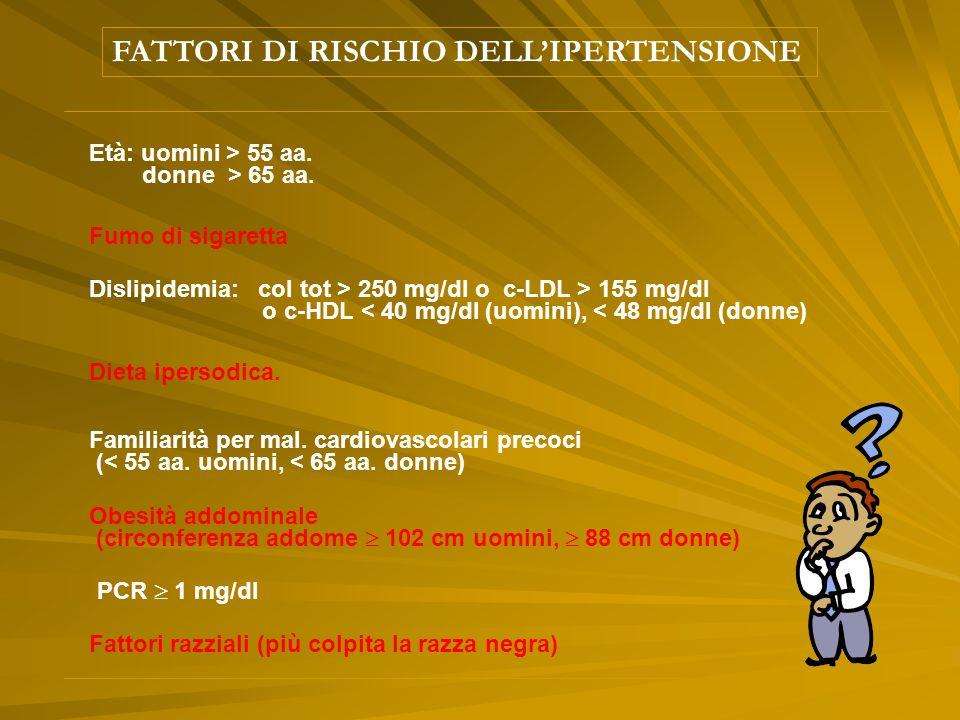 FATTORI DI RISCHIO DELL'IPERTENSIONE Età: uomini > 55 aa.