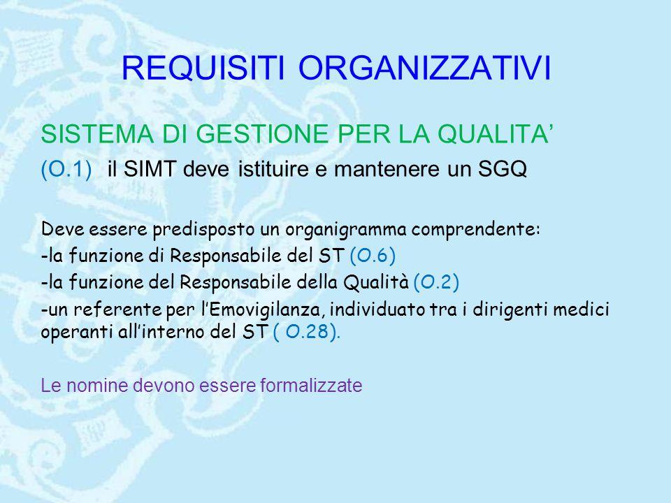 REQUISITI ORGANIZZATIVI SISTEMA DI GESTIONE PER LA QUALITA' (O.1) il SIMT deve istituire e mantenere un SGQ Deve essere predisposto un organigramma comprendente: -la funzione di Responsabile del ST (O.6) -la funzione del Responsabile della Qualità (O.2) -un referente per l'Emovigilanza, individuato tra i dirigenti medici operanti all'interno del ST ( O.28).