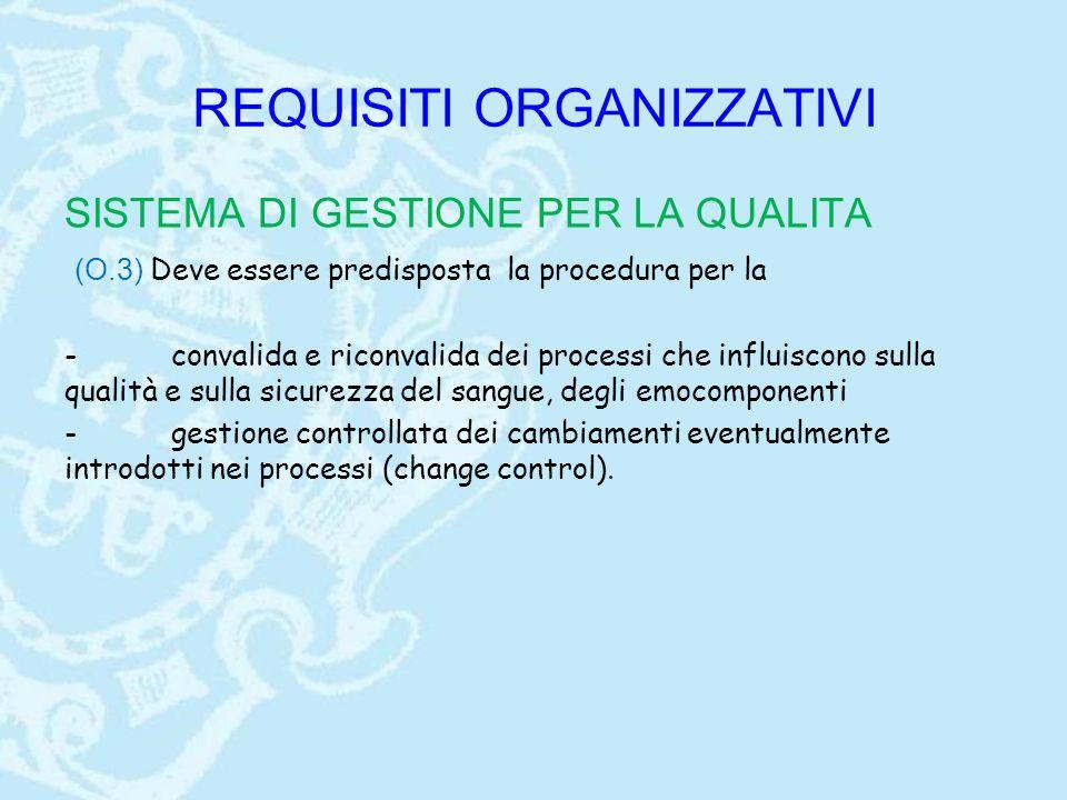 REQUISITI ORGANIZZATIVI SISTEMA DI GESTIONE PER LA QUALITA (O.3) Deve essere predisposta la procedura per la - convalida e riconvalida dei processi ch