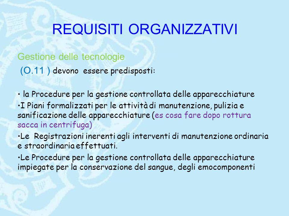 REQUISITI ORGANIZZATIVI Gestione delle tecnologie (O.11 ) devono essere predisposti: la Procedure per la gestione controllata delle apparecchiature I