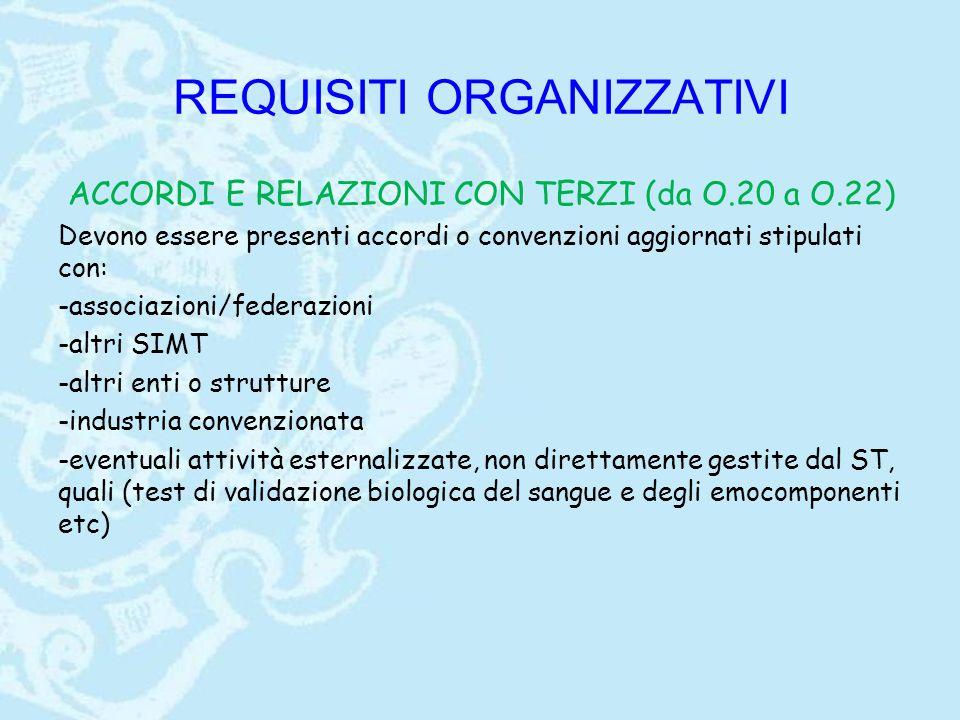 REQUISITI ORGANIZZATIVI ACCORDI E RELAZIONI CON TERZI (da O.20 a O.22) Devono essere presenti accordi o convenzioni aggiornati stipulati con: -associa