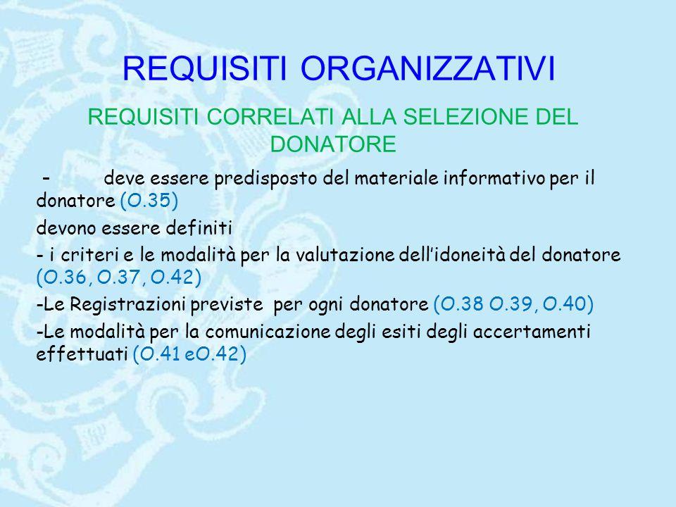 REQUISITI ORGANIZZATIVI REQUISITI CORRELATI ALLA SELEZIONE DEL DONATORE - deve essere predisposto del materiale informativo per il donatore (O.35) devono essere definiti - i criteri e le modalità per la valutazione dell'idoneità del donatore (O.36, O.37, O.42) -Le Registrazioni previste per ogni donatore (O.38 O.39, O.40) -Le modalità per la comunicazione degli esiti degli accertamenti effettuati (O.41 eO.42)