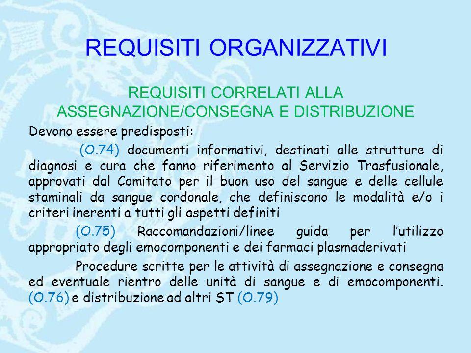 REQUISITI ORGANIZZATIVI REQUISITI CORRELATI ALLA ASSEGNAZIONE/CONSEGNA E DISTRIBUZIONE Devono essere predisposti: (O.74) documenti informativi, destin