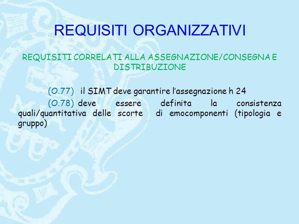 REQUISITI ORGANIZZATIVI REQUISITI CORRELATI ALLA ASSEGNAZIONE/CONSEGNA E DISTRIBUZIONE (O.77) il SIMT deve garantire l'assegnazione h 24 (O.78) deve essere definita la consistenza quali/quantitativa delle scorte di emocomponenti (tipologia e gruppo)