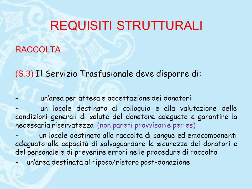 REQUISITI STRUTTURALI RACCOLTA (S.3) Il Servizio Trasfusionale deve disporre di: - un'area per attesa e accettazione dei donatori -un locale destinato