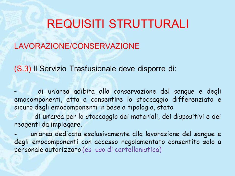 REQUISITI STRUTTURALI LAVORAZIONE/CONSERVAZIONE (S.3) Il Servizio Trasfusionale deve disporre di: - di un'area adibita alla conservazione del sangue e