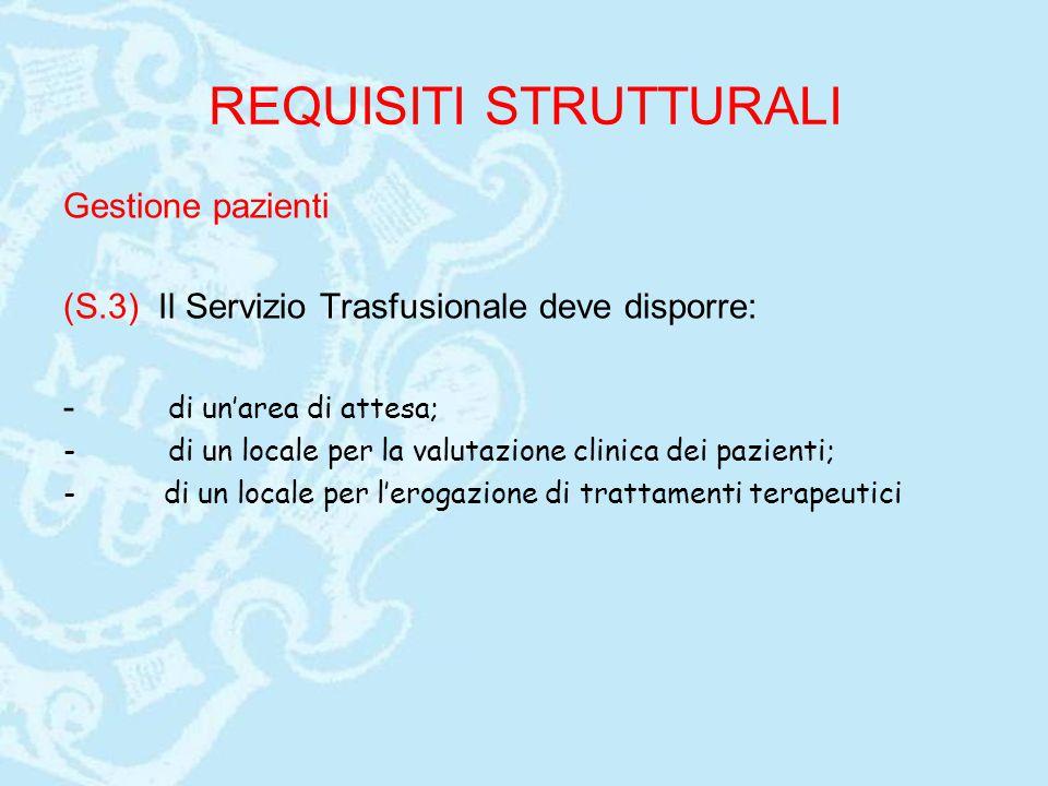 REQUISITI STRUTTURALI Gestione pazienti (S.3) Il Servizio Trasfusionale deve disporre: - di un'area di attesa; - di un locale per la valutazione clini