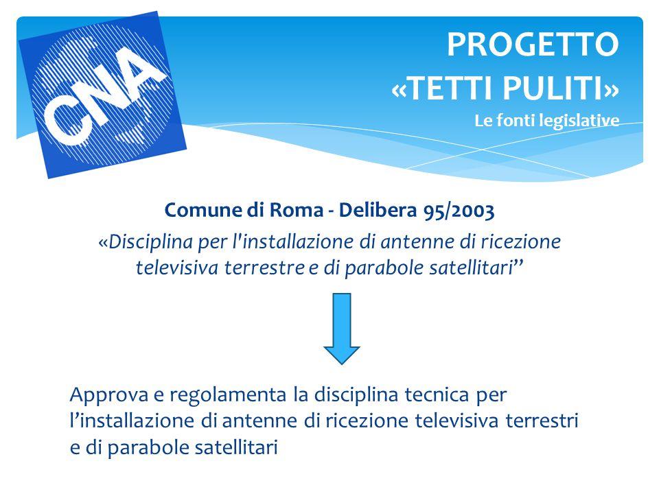 """Comune di Roma - Delibera 95/2003 «Disciplina per l'installazione di antenne di ricezione televisiva terrestre e di parabole satellitari"""" Approva e re"""