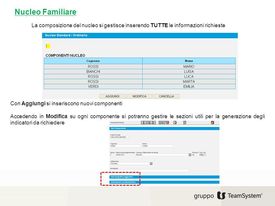 La composizione del nucleo si gestisce inserendo TUTTE le informazioni richieste Con Aggiungi si inseriscono nuovi componenti Accedendo in Modifica su