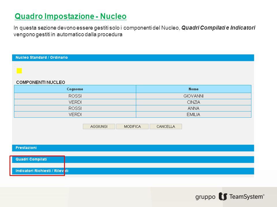 In questa sezione devono essere gestiti solo i componenti del Nucleo, Quadri Compilati e Indicatori vengono gestiti in automatico dalla procedura Quad