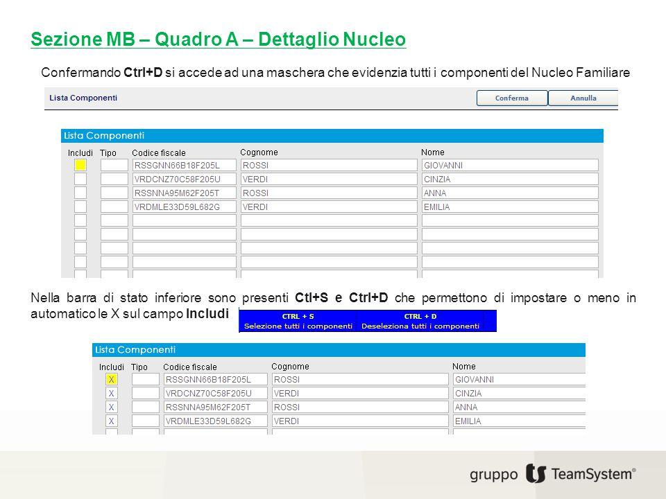 Confermando Ctrl+D si accede ad una maschera che evidenzia tutti i componenti del Nucleo Familiare Sezione MB – Quadro A – Dettaglio Nucleo Nella barr