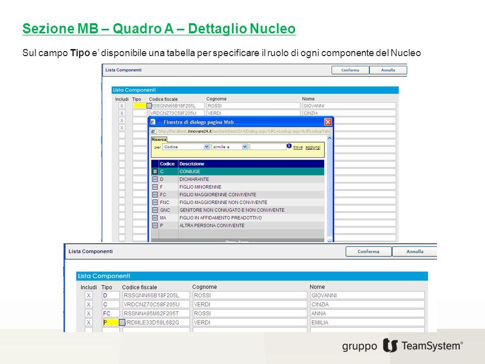Sul campo Tipo e' disponibile una tabella per specificare il ruolo di ogni componente del Nucleo Sezione MB – Quadro A – Dettaglio Nucleo