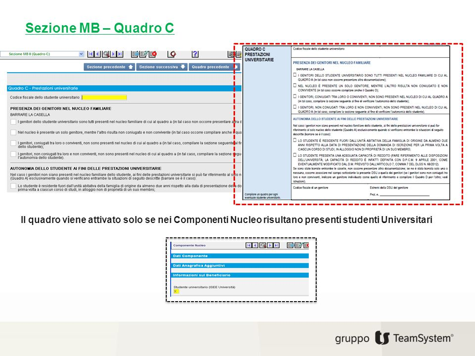 Il quadro viene attivato solo se nei Componenti Nucleo risultano presenti studenti Universitari Sezione MB – Quadro C