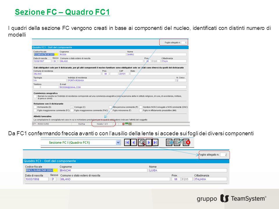 Sezione FC – Quadro FC1 I quadri della sezione FC vengono creati in base ai componenti del nucleo, identificati con distinti numero di modelli Da FC1