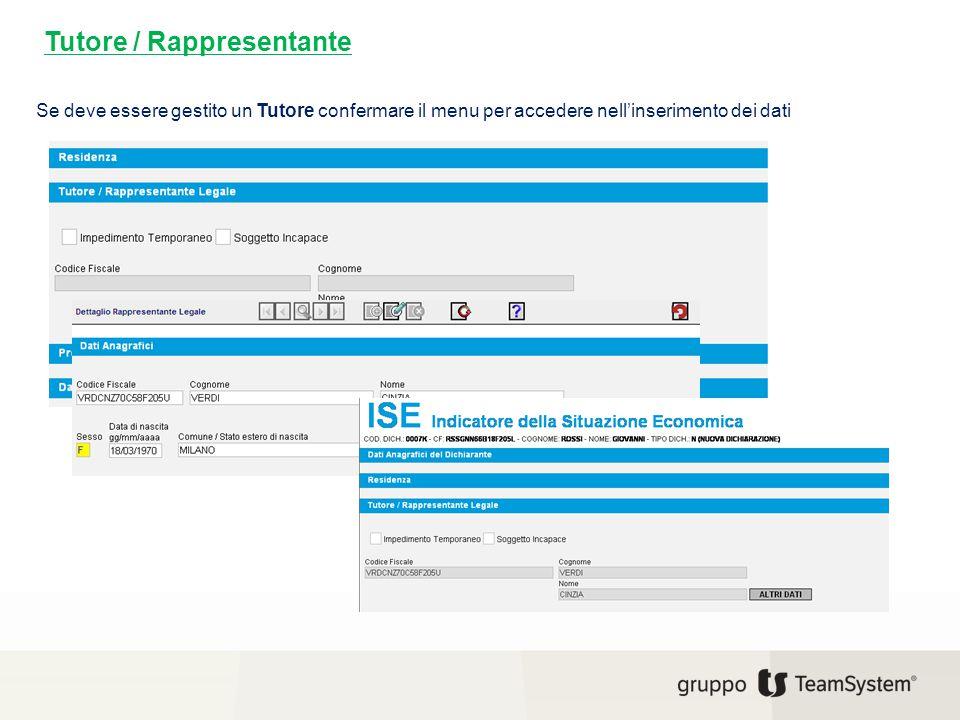 Tutore / Rappresentante Se deve essere gestito un Tutore confermare il menu per accedere nell'inserimento dei dati