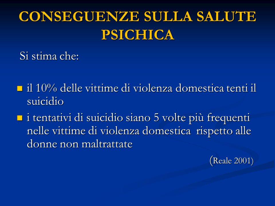 CONSEGUENZE SULLA SALUTE PSICHICA Si stima che: Si stima che: il 10% delle vittime di violenza domestica tenti il suicidio il 10% delle vittime di vio