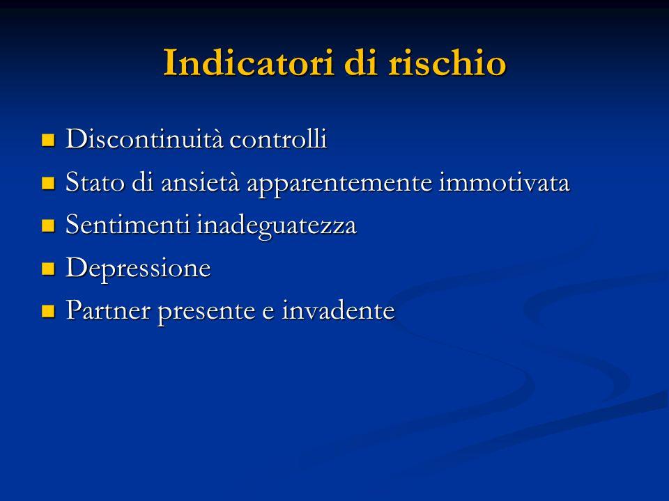 Indicatori di rischio Discontinuità controlli Discontinuità controlli Stato di ansietà apparentemente immotivata Stato di ansietà apparentemente immot