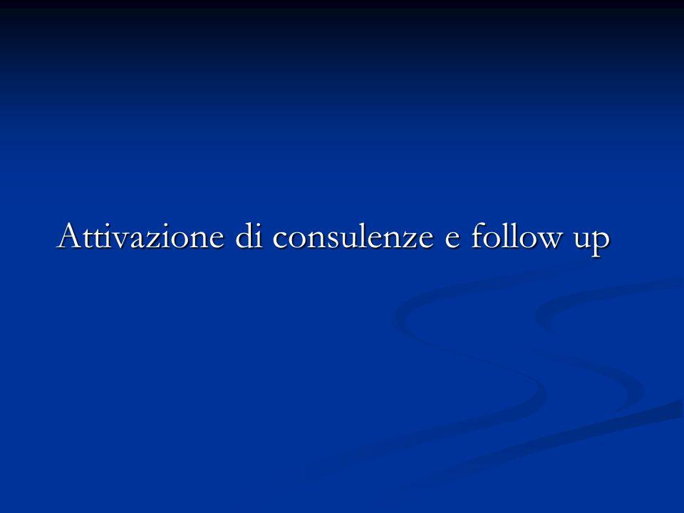 Attivazione di consulenze e follow up Attivazione di consulenze e follow up