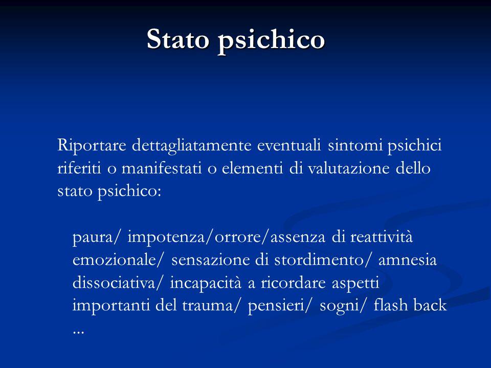Stato psichico Riportare dettagliatamente eventuali sintomi psichici riferiti o manifestati o elementi di valutazione dello stato psichico: paura/ imp