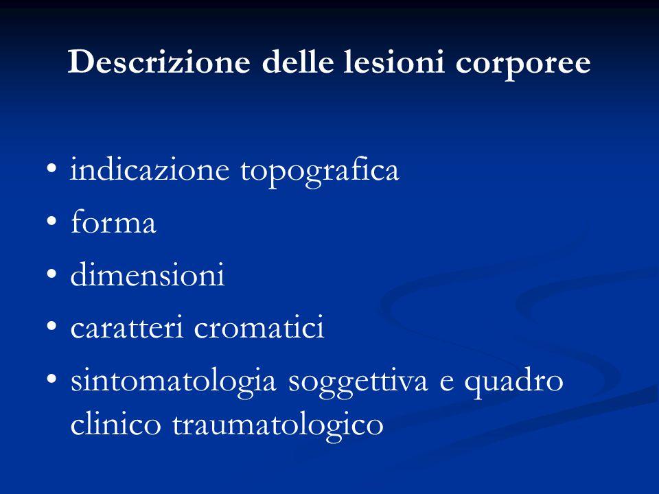Descrizione delle lesioni corporee indicazione topografica forma dimensioni caratteri cromatici sintomatologia soggettiva e quadro clinico traumatolog