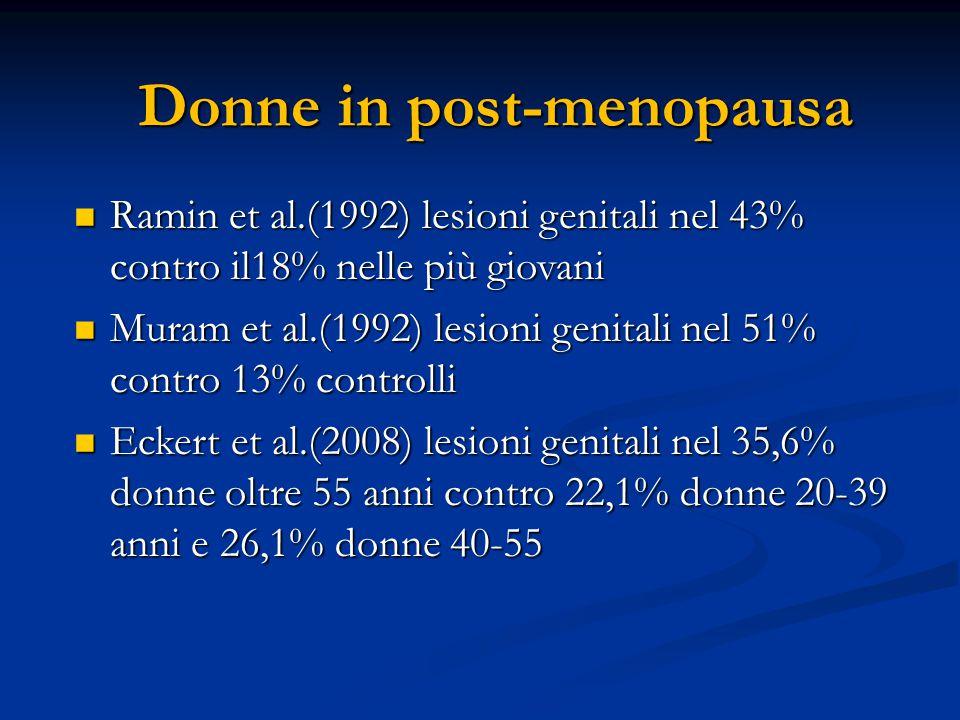 Donne in post-menopausa Ramin et al.(1992) lesioni genitali nel 43% contro il18% nelle più giovani Ramin et al.(1992) lesioni genitali nel 43% contro