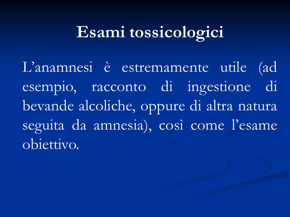 L'anamnesi è estremamente utile (ad esempio, racconto di ingestione di bevande alcoliche, oppure di altra natura seguita da amnesia), così come l'esam